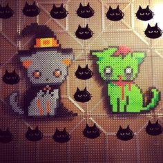 Halloween perler cats by freakshowfix