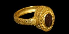 Roman - Gold Openwork Ring with 'Victory' Intaglio Gemstone, 3rd century A.D.