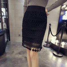 834b7a5bd6f 2017 Spring Fashion Lace Hollow Out Women Skirt School Black Vintage Sexy  High Waist Skirt Medium Long Slim Lace Skirts Big Size