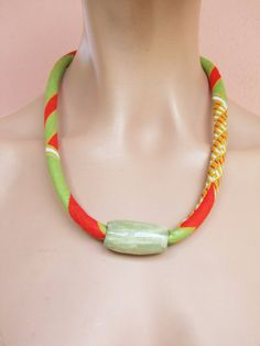 Wax  print and ceramic bead orange and green fabric/ choker necklace/ African fabric/  Bib necklace
