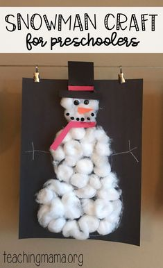 Snow Activities for Preschoolers - such a cute snowman craft! This is also a great fine motor activity. Snow Activities, Winter Activities For Kids, Winter Crafts For Kids, Christmas Crafts For Kids, Toddler Crafts, Preschool Activities, Snow Crafts, January Crafts, Frosty The Snowmen