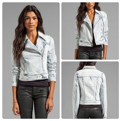 """♣️ Paige """"Brooklyn"""" Denim Moto Jacket Paige """"BROOKLYN"""" Denim Jacket   Size S will fit a M  Bust 34""""   Waist 33"""" Overall length 21""""  Fabric: 99% cotton 1% elastane  Color: Stonewash  TradesModeling ✅Smoke free home✅  ✅Offers considered✅ Please use the blue 'offer' button to submit an offer.   Bundle 2 or more items for an automatic 15% discount. Paige Jeans Jackets & Coats Jean Jackets"""