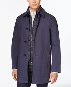 Dkny Darwin Slim-Fit Navy Raincoat with Removable Vest