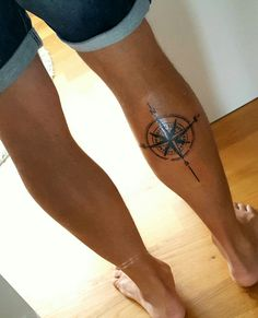 My leg compass tattoo. #tattoo #compass #calf