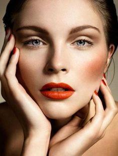 Instant Cheekbones orange/red lips, cheeks and nails + soft eye makeup – Das schönste Make-up Makeup Trends, Makeup Inspo, Makeup Inspiration, Makeup Tips, Makeup Ideas, Beauty Make-up, Beauty Shoot, Beauty Nails, Beauty Care