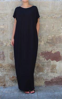 Caftan Black Dress Oversized dress Backless by cherryblossomsdress