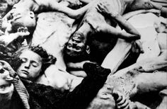 Dachau, Germany, April 1945, A dead body of a young girl among a pile of corpses, after the liberation.