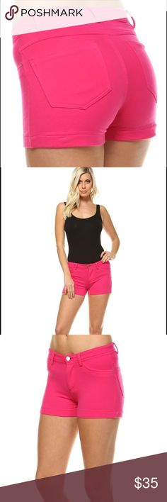 NWT Fitted Shorts Low-rise Color: PINK Here we have a very fashionable, comfortable, and your new favorite pair of shorts for this summer. *They're  made of 95% cotton and 5% spandex material to give it a little stretch *Model is wearing a small but please reference the sizing table for accurate fit. *Machine wash cold. Made in Cambodia LV Designs Shorts