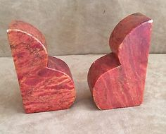 Italian Marble bookends pair Made in Italy red orange art deco stone vintage