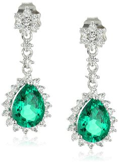10k White Gold Lab Created Emerald and Lab White Sapphire Dangle Earrings * Click image for more details.