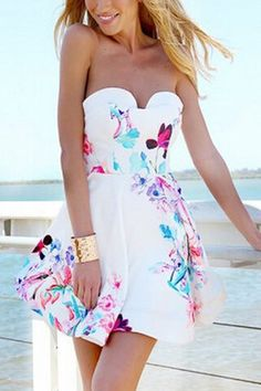 Random Floral Tube Top Open Back Summer Mini Dress with Zip Back Fastening - US$19.95 -YOINS
