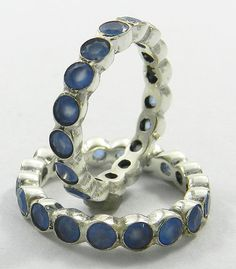 Solid 925 sterling silver Blue Chalcedony round gemstone stackable eternity Ring #magicalcollection #sterlingsilver #silver bandrings #rings #chalcedony