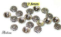 20 Perlenkappen Tibetsilber massiv 75mm  51.7.3 von Schmuckmaterial