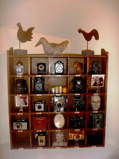 vintage mail sorter to display camera collection