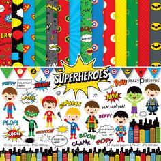 Superhero clipart and digital paper pack DK023