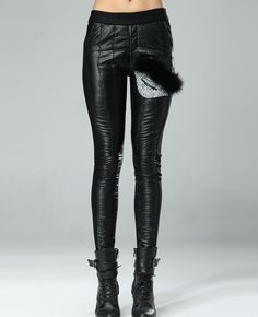 Leather-block & Crystals-encrusted Rabbit Hair Leather Pants
