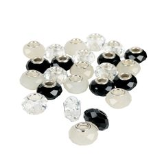 Black & White Faceted Large Hole Beads - 14mm - OrientalTrading.com