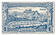 First Olympic  stamp-greece-1896 .The 1   drachmae stamps featured Athenian landmarks showing the Acropolis, Parthenon and the Olympic stadium.