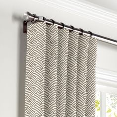 Maze-Print-Taupe-Geometric-Curtain,-Ring-Top-Front