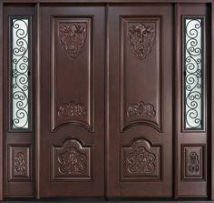 Mahogany Solid Wood Front Entry Door - Double - August 17 2019 at Custom Exterior Doors, Custom Wood Doors, Wooden Doors, Wooden Double Doors, Wooden Gates, Double Front Doors, Wood Front Doors, Front Entry, Patio Doors