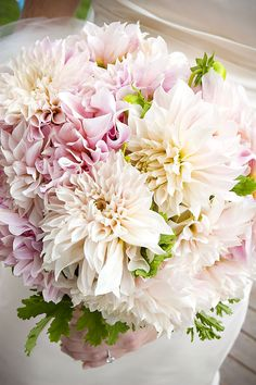 pink cream dahlia bouquet