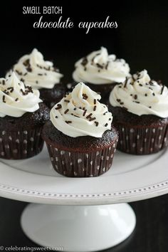 Small Batch Chocolate Cupcakes- makes six cupcakes!!!