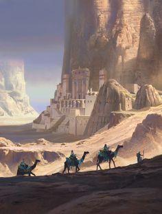 caravan fantasy Wadi Rum Caravan, Arlan Akylbay on - caravan Fantasy Artwork, Fantasy Art Landscapes, Fantasy Concept Art, Fantasy Landscape, Landscape Art, Desert Landscape, Landscape Concept, Landscape Design, Fantasy City