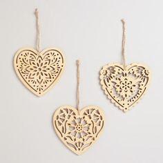 Laser Cut Wood Heart Ornaments Set of 3 - v2