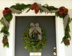 gingham ribbon  on a Christmas porch