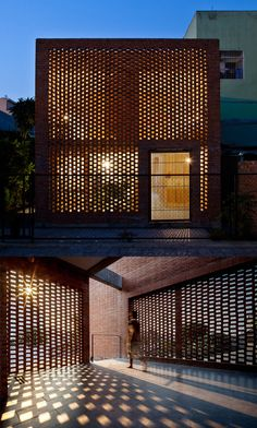 Perforated brick facade