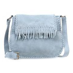 wardow.com - #blue #trend #bag #fashion #Liebeskind Laced Edda Schultertasche samtiges Rindsleder blaugrau