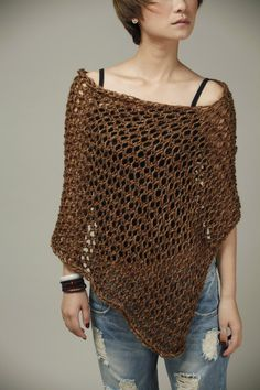 This loose weaved beautiful poncho is made of 100% eco cotton in nice coffee shade. It is a perfect item for Fall that you want to feel a little warmer on a morning or evening. It also can be wear in winter as a scarf. Size: one size fit most. (US 0-10)    Hand wash only and lay flat to dry.    I have other colors for this poncho. Pls. Check my shop for details:  http://www.etsy.com/shop/MaxMelody?section_id=7175104    Made to order. Pls. Allow me 5-7 days to make it.    Thanks for stop by…