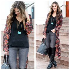 Boho chic look: printed cardigan, tribal necklace, skinny jeans, over the knee boots