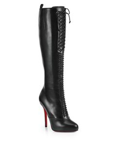 CHRISTIAN LOUBOUTIN Lamadone Leather Knee-High Boots