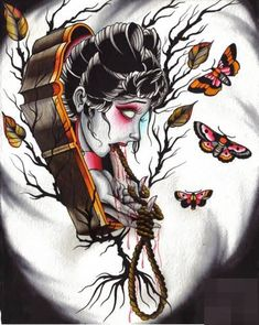 animated-infected-girl-in-coffin-tattoo-stencil-with-flying-butterfly.jpg (500×627)