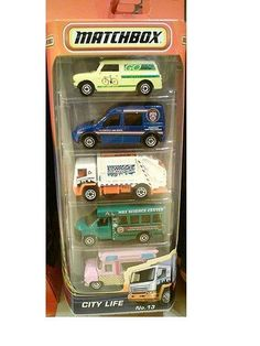 Matchbox City Life 5 Set #13 by Matchbox. $5.64. Die-cast. 5 pack of vehicles for a great variety. 5 pack of Matchbox cars that reflect life in the city. Includes Garbage Truck (2008), GMC School Bus, Austin Mini Van (1965), Ford Transit Connect Taxi and Ice Cream Cruiser.