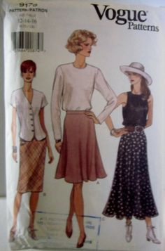 Vogue 9175 Womens Slightly Flared or Flared Skirt by Denisecraft, $5.99