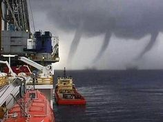 three tornados over the water Weather Storm, Wild Weather, Sea Storm, Storm Clouds, Tornados, Thunderstorms, Water Spout, Eye Of The Storm, Dump A Day