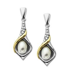 S&G Sterling Silver, 14k Yellow Gold and Diamond Accent Calla Lilly Freshwater Cultured Pearl Earrings Amazon Curated Collection. $94.00. Made in China