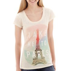 Mighty Fine Take Me To Paris Short Sleeve Tee - JCPenney | Ivory/Paris