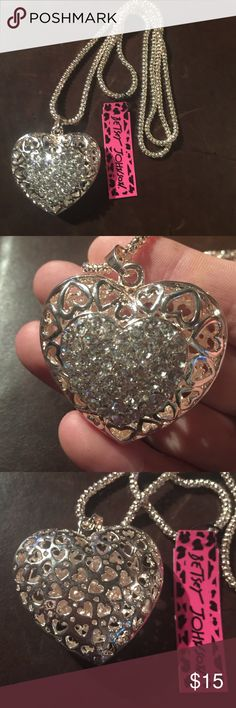 """Betsey Johnson Crystal heart necklace NEW New with tags. 28"""" chain. Next day shipping Betsey Johnson Jewelry Necklaces"""