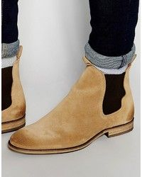 Bottines chelsea en daim brunes claires Selected