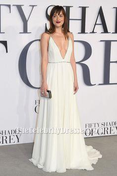 Dakota Johnson Deep V-Neck Evening Dress 'Fifty Shades Of Grey' London Premiere TCD6041