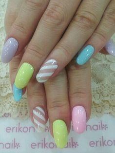 nail design #nail #unhas #unha #nails #unhasdecoradas #nailart #gorgeous #fashion #stylish #lindo #cool #cute #fofo #pastel #stripes #listras