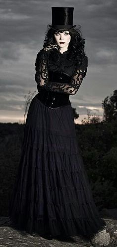 Black Corset with Top Hat and skirt Steampunk   Beauty   Goth