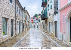 The wide shopping street in the old town, Herceg Novi, Montenegro.