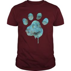 Watercolor Paw Blue T-Shirts, Hoodies. CHECK PRICE ==► https://www.sunfrog.com/Funny/Watercolor-Paw--Blue-Maroon-Guys.html?id=41382