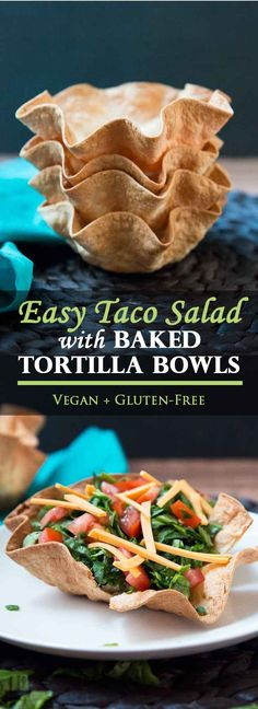 Layered Taco Salad with Baked Tortilla Bowls #vegan #glutenfree #healthy | Vegetarian Gastronomy | www.VegetarianGastronomy.com