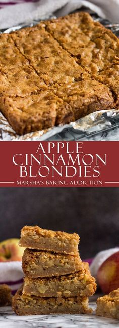 Apple Cinnamon Blondies - These cinnamon-spiced blondies are incredibly thick and chewy with a lovely crinkly top, and stuffed full of juicy apple chunks! Easy Desserts, Delicious Desserts, Yummy Food, Autumn Desserts, Brownie Recipes, Cookie Recipes, Cake Vegan, Vegan Apple Cake, Oreo Brownies