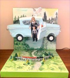 Flying Harry Potter car cake Harry Potter Car, Chocolate Sponge, Car Themes, Flying Car, 3d Cakes, Themed Cakes, How To Make Cake, Cake Decorating, Kids Room